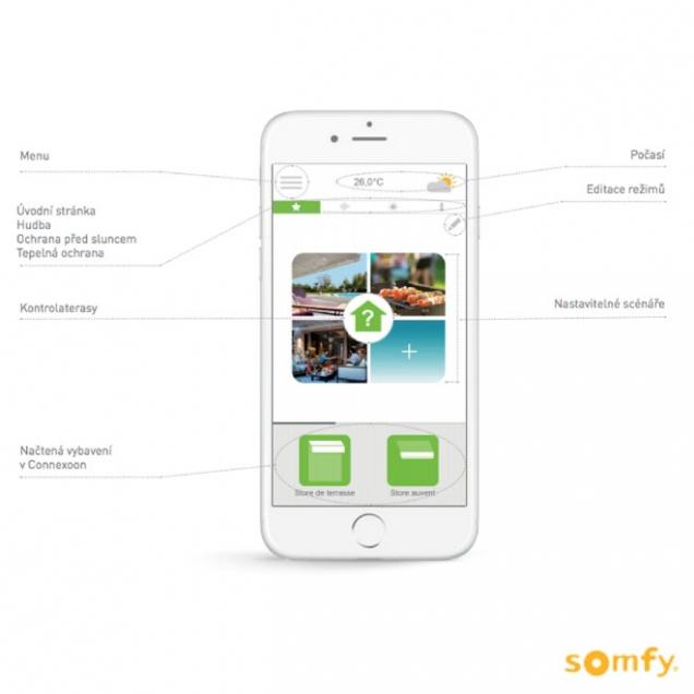 Ovládejte markýzu pomocí inteligentní domácnosti Somfy.