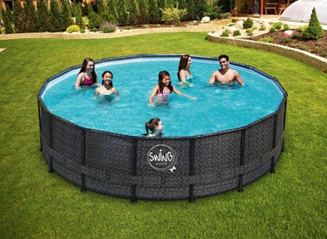 Rámový bazén Swing Frame Ratan s elegantním designem ratanu. (Foto: Mountfield)