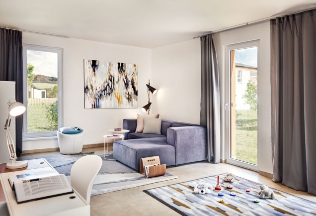 Díky francouzským oknům je vcelém domě hodně světla ainteriér působí vzdušně aprostorně.