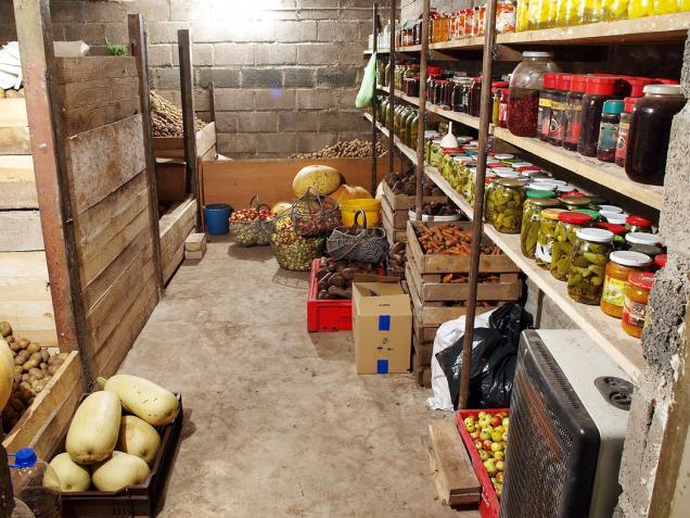 Ideálním místem pro skladování brambor, zimních odrůd jablek ahrušek je sklep, zde vydrží při správném umístění až do března. Také zavařeninám prospívá uložení ve tmě a stálém klimatu.