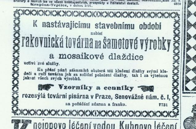 RAKO slaví 135 let - inzerát z roku 1891