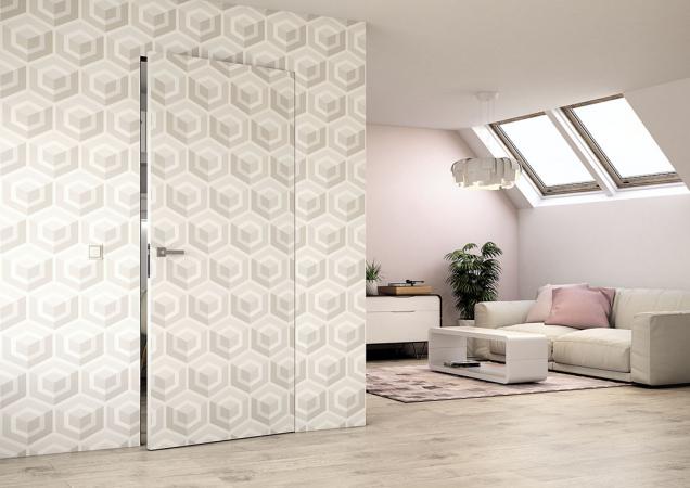 Skrytá zárubeň prakticky není vidět a umožňuje dveřím a stěně vytvořit napohled jednolitou plochu. (Zdroj: Sapeli)