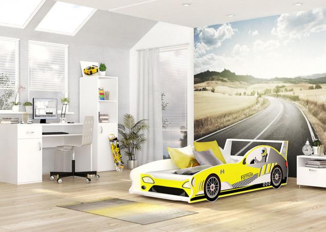Postel vetvaru Formule 1 se prodává smatrací aroštem vybaveným systémem Flexi,  rozměry matrace 160 × 80cm, cena 3650Kč, www.pokojicky-tepe.cz