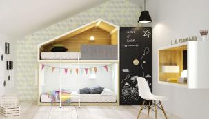 Postel Cottage značky Lagrama vkompozici snábytkem, postel stojí 98900Kč, stůl 14150Kč, skříň je za 34225Kč, www.space4kids.cz