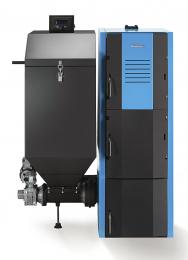 Litinový kotel Logano G221 Asautomatickým podavačem azásobníkem paliva pro spalování hnědého uhlí nebo dřevěných pelet. Předností je snadná ovladatelnost přes řídicí jednotku sdisplejem (BUDERUS)