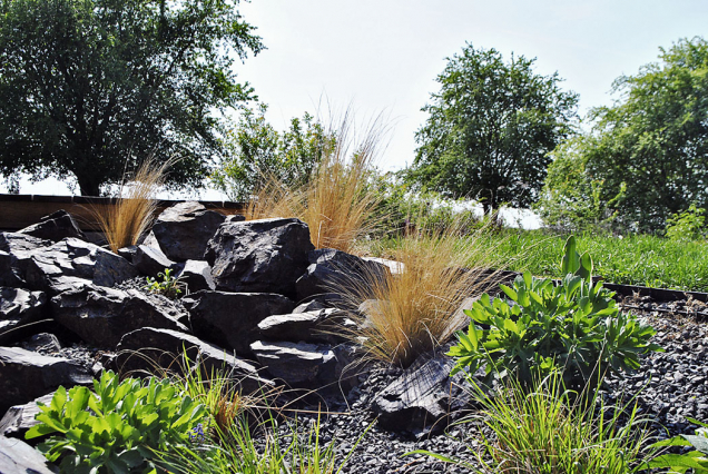 Skalnaté stepní partie najdeme v blízkosti domu, samostatné kameny pak v záhonech a na cestách jako šlapáky.