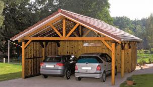 Stavba přístřešku pro auta je snadná a poměrně levná. Stačí si v Hornbachu pořídit připravené balení přístřešku na auto, kotevní patky a pustit se do stavby.