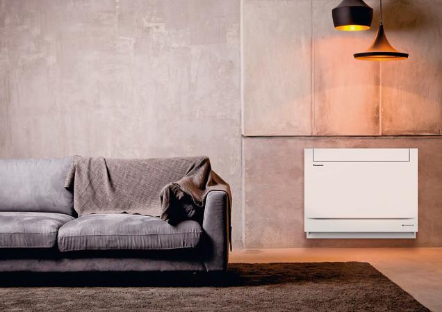 Nová podlahová konzola Panasonic pro obytné prostory se může pochlubit stylovým designem avysokou účinností A++, takže je ideální alternativou ktradičním radiátorům.