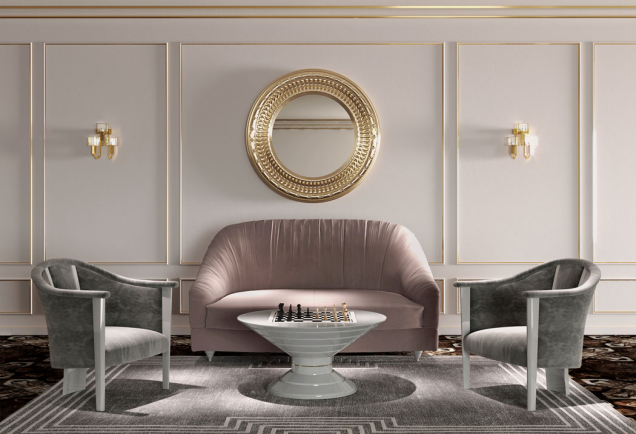Šachový stůl v luxusním interiéru.