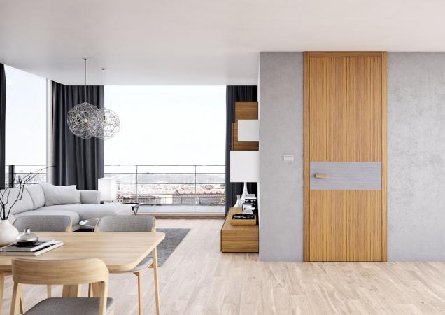 Dýhované dveře Tenga s různou orientací kresby budou dominantou každého interiéru. Vyrábějí se v bohaté škále materiálů a provedení, na fotografii kombinace teak a dub bílý (Sapeli)