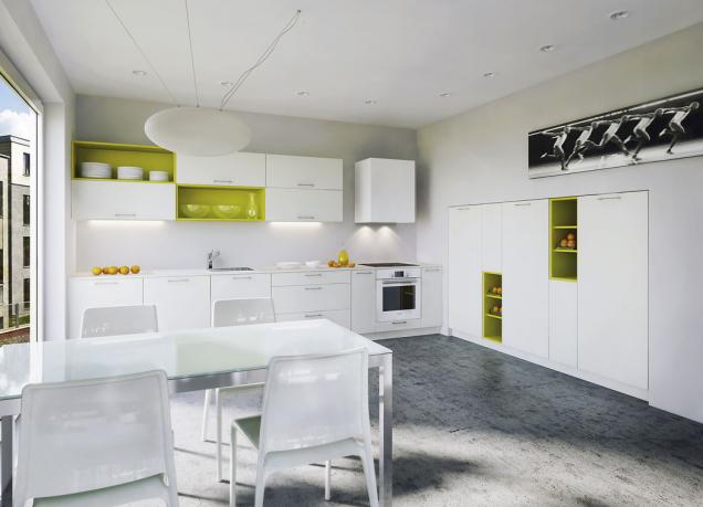 Stoly se skleněnou deskou akovovou podnoží jsou odolné, snadno se udržují  avinteriéru působí vzdušně asubtilně. Hodí se ido malé místnosti (Oresi, kuchyně Colorama)