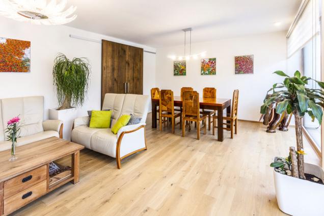 Hlavní obytná místnost domu sjídelním stolem asedací soupravou. Posuvné dveře slouží kpraktickému oddělení kuchyně od zbytku hlavního obytného prostoru.