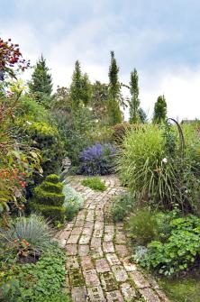 Vinuté cestičky záměrně zpomalují krok, aby očím neunikl jediný detail znepřeberného množství rostlin zajímavých barev, struktur atvarů, jimiž je zahrada prošpikovaná.