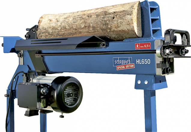 Horizontální hydraulický štípač dřeva Scheppach HL 650 naštípe až 100 polen zahodinu, cena 5695Kč (HORNBACH)