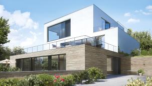 Hliníkový okenní systém Schüco AWS 75 PD SI sjednocuje vjednom výrobku excelentní tepelné vlastnosti dřevěných aplastových oken sjedinečnými parametry, moderním designem akomfortním vzhledem hliníku (SCHÜCO)