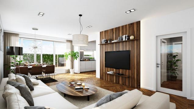 Všechny byty jsou vzdušné a nápaditě řešené, jejich variabilní dispozice se přizpůsobí ináročným požadavkům. Kneodolatelným benefitům patří balkony a střešní terasy s úchvatnými výhledy.