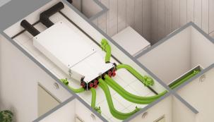 Bytový prostor je dnes drahou komoditou. Jeho nedostatek často neumožňuje zařídit rekonstruovanou nemovitost či novostavbu podle současných technických standardů, požadavků na komfort a hygienu prostředí. Koncept Renovent Sky s rozdělovacími boxy, předního evropského výrobce větracích jednotek firmy Brink, přináší originální a praktické řešení. (Zdroj: Štorc)