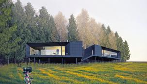 Itakhle může amožná ibude vypadat moderní rodinný dům. Přesněji Český ostrovní dům (neboť nejde jen oarchitektonickou, tedy vizuální stránku věci). Autorem studie je Vojtěch Lichý.