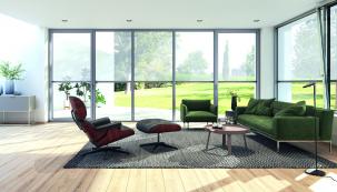 Zachování kontaktu s vnějším světem je jednou z předností textilních screenových rolet Schüco ZIP Design Screen. (Zdroj: Schüco)
