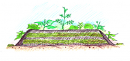 Kompostovací záhon pro zužitkování posečené trávy