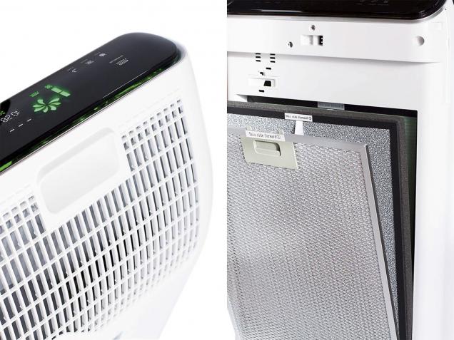Čistička vzduchu Rohnson R-9600 Pure Air zvládne vyčistit 320 m³/h vzduchu aaž 93,5% těkavých organických látek. Má sedmistupňové čištění apět druhů pevných filtrů (HORNBACH)