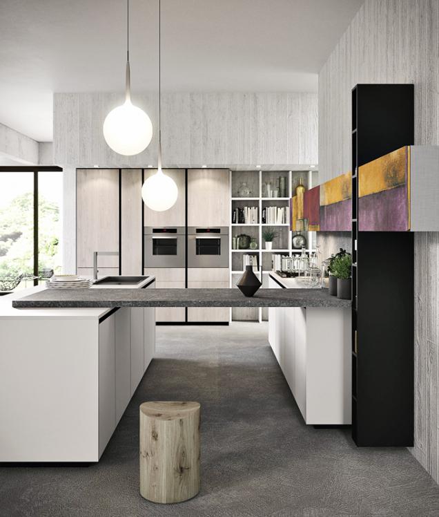 Spojení linky u stěny a kuchyňského ostrůvku působí v prostoru zajímavě, a především přidává další pracovní plochu (Arancucine, linka Lab 13)