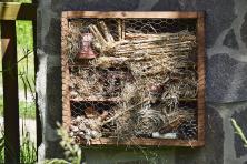 Skrýší pro užitečné živočichy vybudovala majitelka na zahradě celou řadu. Nejoblíbenější jsou, zdá se, hmyzí hotely.