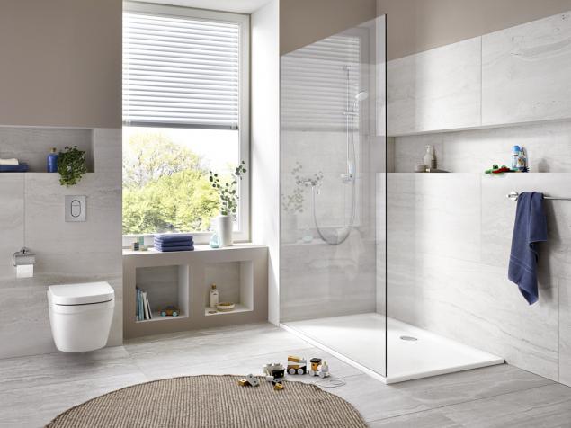 Extra mělké sprchové vaničky GROHE dokážou díky svým designovým a technologickým vlastnostem významně povýšit kvalitu koupelny a tím i hodnotu nemovitosti.