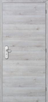 Protipožární dveře mají specifickou vnitřní konstrukci. Při jejich výběru se řiďte certifikátem. Na obrázku jsou požárně kouřotěsné dveře Masonite LUME EXTRA SMOKE CPL laminát deluxe, dekor borovice švédská horizontální. (Zdroj: Masonite)