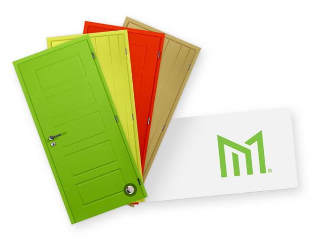 Stále častěji se používají také výrazné barvy dveří, například chilli červená, limetkově zelená nebo tyrolská modrá. Výrobce dveří Masonite doporučuje syté barvy v povrchové úpravě HPL laminátu, který je vysoce odolný vůči poškrábání.  (Zdroj: Masonite)