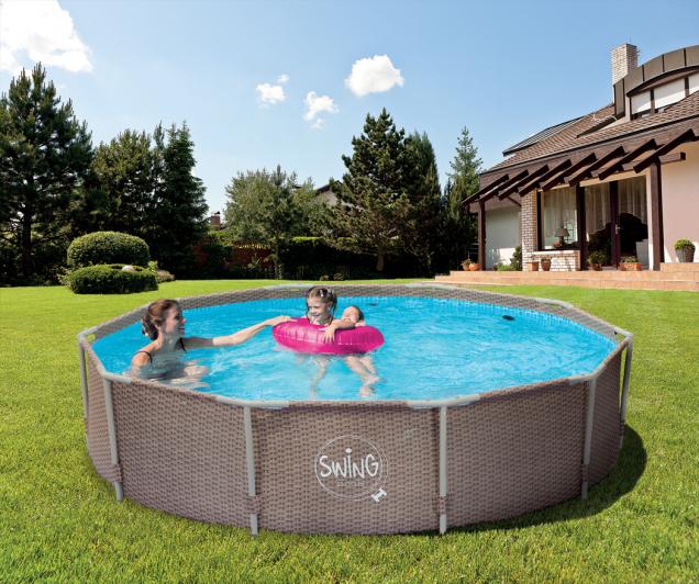 Rámové bazény Swing s podpěrnou konstrukcí jsou vhodné pro ty, kteří hledají jednoduché řešení pro letní koupání.  (Zdroj: Mountfield)
