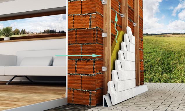 Grafické znázornění průniku vlhkosti skrz difuzně otevřenou fasádní konstrukci obvodového pláště budovy (NOVABRIK)