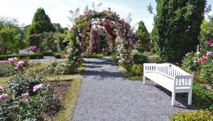 Mlatové povrchy jsou hojně používány veveřejných parcích (zde největší růžový park vEvropě – Sangerhausen). Okraje cest jsou lemovány neviditelným obrubníkem zocelové pásoviny.