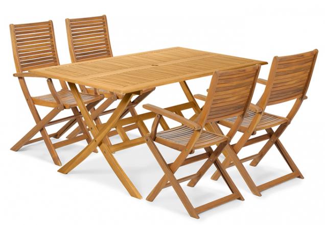 2. Nadčasová sestava,výrobce: Fieldmann, cena: 5799Kč,www.fieldmann.cz  Sada zahradního nábytku CATY-T ze dřeva akácie obsahuje prostorný stůl sotvorem pro slunečník vestředu adále čtveřici skládacích, ergonomicky tvarovaných křesel spodručkami.
