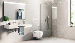Zvolíte-li moderní řešení sprchy bez vaničky, musíte si být jisti, že povrch podlahy je zcela neklouzavý. Dlažba ze série Downtown má protiskluz R 11 aformát 120 × 140cm (ROCA)