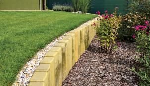 Betonové prvky různých tvarů avelikostí dobře slouží při řešení menších výškových rozdílů. Palisády jsou mrazuvzdorné aopatřené impregnací (PRESBETON)