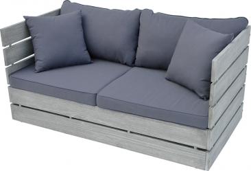 1. Dřevěná zahradní lavice ze série Scaffold nabídne pohodlné posezení pro dvě osoby, 134 × 69cm, výška 63cm, voděodolné polstrování, cena 6940Kč, prodává www.hornbach.cz