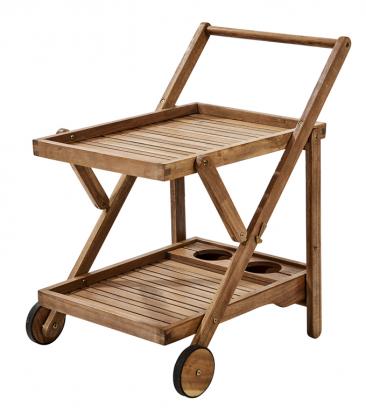8.Servírovací stolek ze série Big Easy (BUTLERS) zcertifikovaného akátového dřeva lehce převezete tam, kde je zrovna potřeba, cena 2690Kč, prodává www.butlers.cz