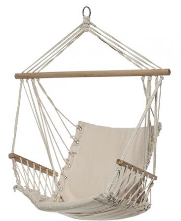 5.Závěsné křeslo spodručkami Baboon (BUTLERS) poskytne pohodlný odpočinek, materiál bavlna/polyester/dřevo, cena 1190Kč, prodává www.butlers.cz