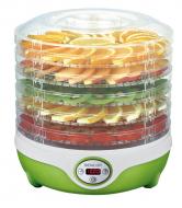 Sušička ovoce (SFGD 851GR) ideální dárek pro všechny pěstitele a milovníky sušených plodů, jako jsou ovoce, zelenina, oříšky, bylinky i jiná semínka či dokonce maso. Sušičku lze elektronicky nastavit na teplotu 35 – 70°C, lze nastavit časovač pro pozdější vypnutí. Sušička je kompatibilní s podnosy o průměru 255 mm a dodávána s 5 sušícími pláty. Integrovaný ventilátor napomáhá rovnoměrnému sušení na všech patrech a průhledné víko a podnosy umožňují okamžitou vizuální kontrolu nad stavem sušení (Zdroj: SENCOR)