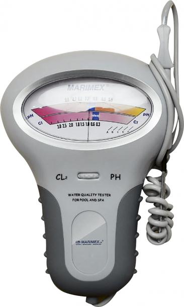 7. Diagnostika vody:prodejce Hornbach, cena:869Kč  Elektronický tester napájený tužkovou baterií slouží kpohodlnému zjištění hodnot pH achloru (pokalibraci) vbazénové vodě, ato vrozsahu (pH 5,5–9,0 ppm, Cl 0,2–3,0 ppm).
