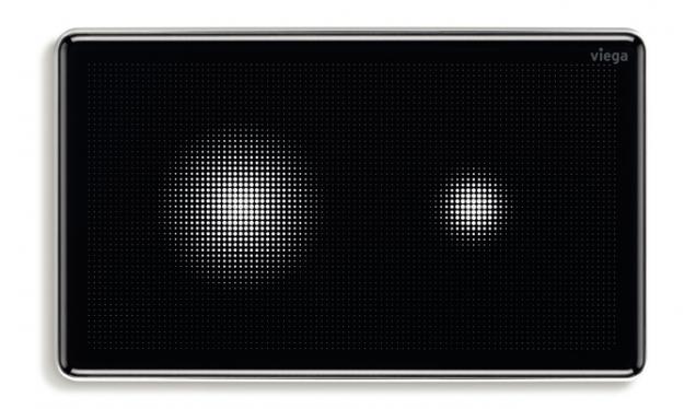Bezdotykový komfort při splachování, zaoblené hrany a černé sklo – senzitivní deska Visign for More 205. I tato ovládací deska má za cíl dotvářet vysoce funkční a zároveň esteticky krásnou koupelnu. Splachování se spouští zcela bezdotykově podržením ruky v blízkosti požadované funkce. Samotná funkce splachování se zaktivuje rozsvícením pixelového mraku poté, co se uživatel přiblíží do vzdálenosti přibližně 2,5 m od desky. (Foto: Viega)
