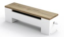Otopná lavice Koraline LD jeopatřená dřevěnou krycí deskou a představuje prověřené chytré spojení designu, výkonu aužitných vlastností (KORADO)