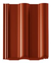 Betonové střešní tašky BRAMAC (rubínově červená). Optimalizace tvaru akvalitní suroviny vedou ke snižování hmotnosti azvyšování pevnosti.