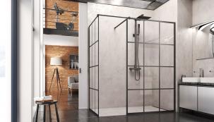 Novinkou značky SanSwiss jsou sprchové zástěny Loft se subtilními černými rámy, které dodají koupelně zcela jedinečný styl. Nafotografii vidíte elegantní řešení walk-in, navýběr je celá řada rozměrů aprovedení (SANSWISS)