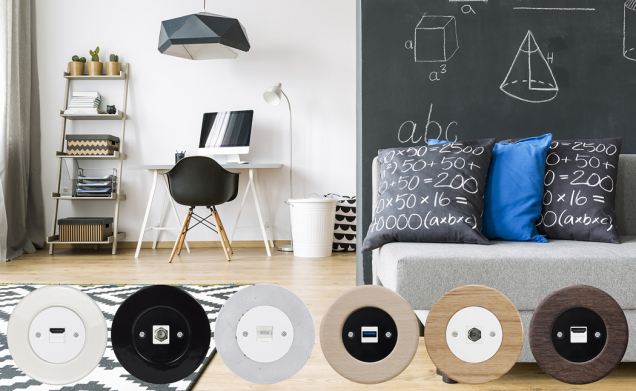 """Moderna v tzv. """"retro stylu"""". Věci důležité, pro mnohé přímo nezbytné a konektory k jejich napojení, skrývající se pod  """"šiframi"""" HDMI, SAT, PC, USB, TV. V rámečcích s designem keramiky betonu, buku, dubu (OBZOR)"""