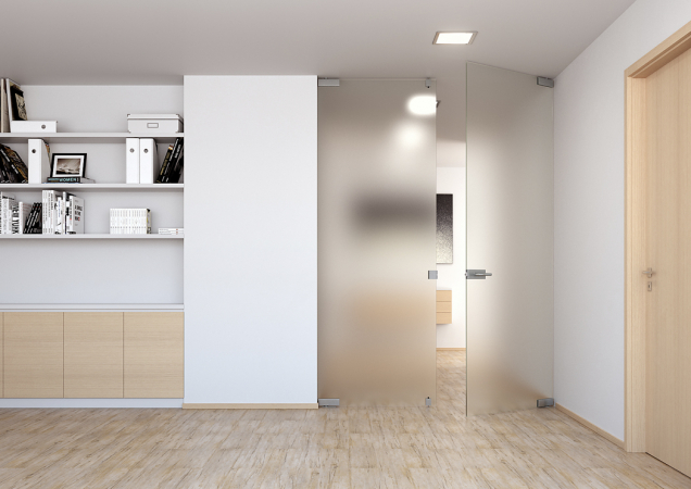 1. Satinované průsvitné sklo představ je dokonalé vyvážení potřeb avýhod– světlo, lehkost, snadná údržba. Dveře Sapglass Satináto (SAPELI).