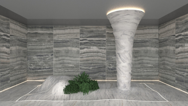 Lehkost větru se střetává s tíhou kamene, země se spojuje s nebem, zahrada zasažená bouří mění svůj tvar. Design Marco Piva, realizace Lavagnoli Marmi, Pellegrini Meccanica