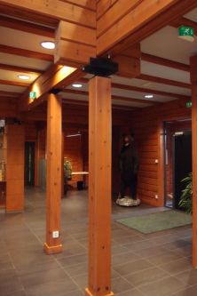 V zahraničí se zcela běžně staví ze dřeva i vícepodlažní veřejné budovy. Takto vypadá vstupní hala administrativní budovy v Helsinkách postavené společností Kontio