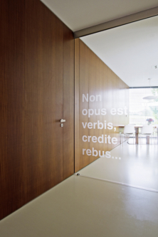 Důležitou zásadou návrhů architekta Aleše Říhy je volný prostup světla a průhled interiérem až ven do zahrady. Zde tuto úlohu plní atypické dveře z bezpečnostního skla s vypískovanými grafickými motivy